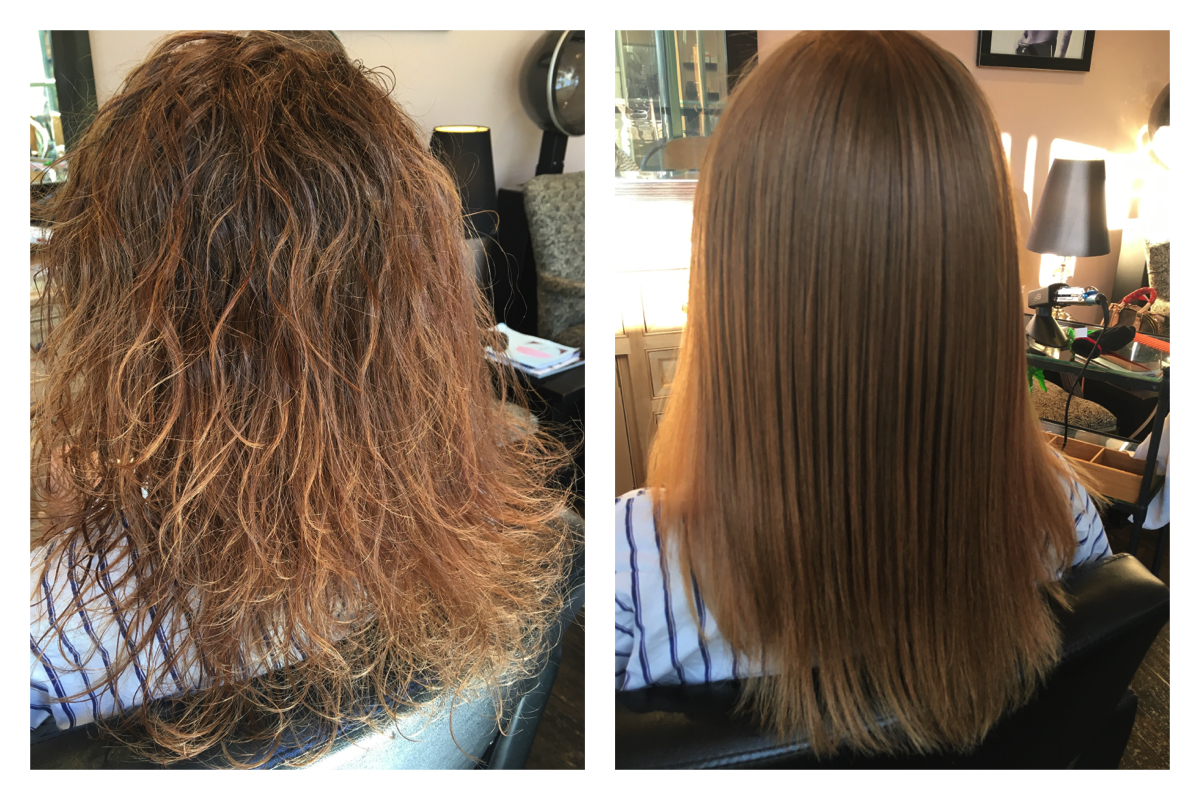 before and after keratin treatment