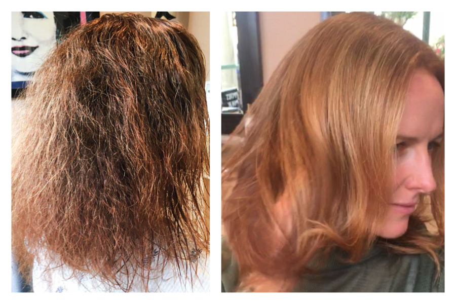 Hair Coloring and Keratin Treatment Strawberry Blonde